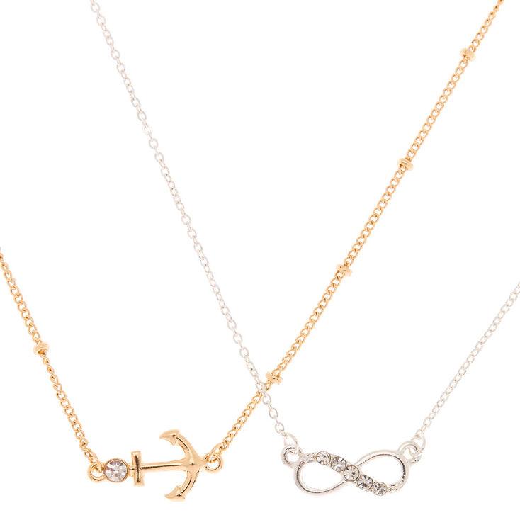 Mixed Metal Symbol Pendant Necklaces - 2 Pack,