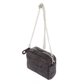 Mini Glitter Crossbody Bag - Black,