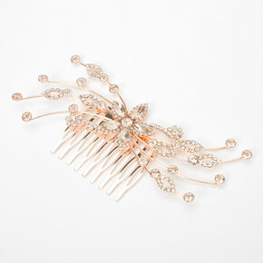 Rose Gold Rhinestone Flowers & Vines Hair Comb,