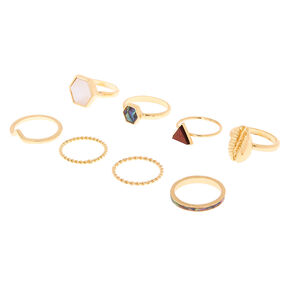 Gold Natural Elements Rings - 8 Pack,