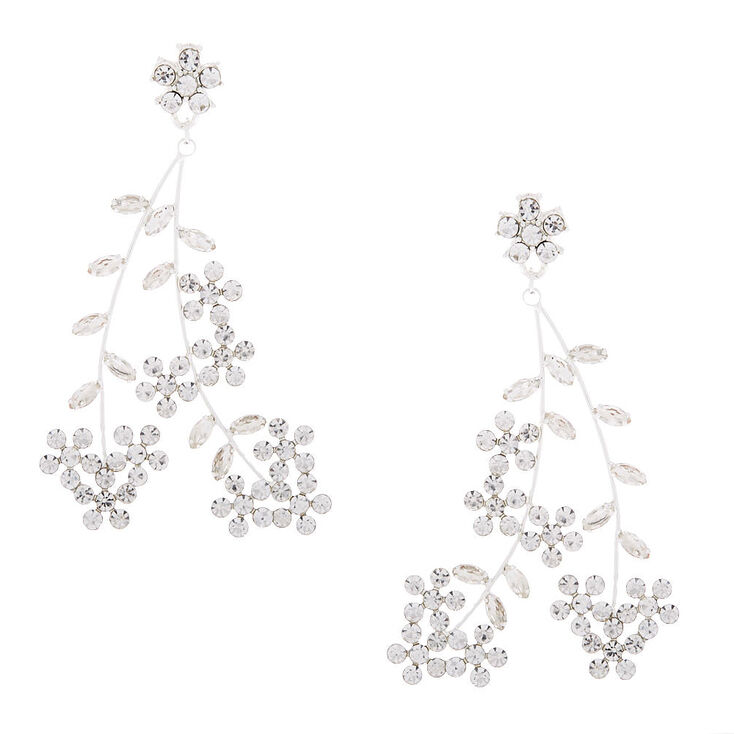 "Silver 3"" Floral Vine Drop Earrings,"