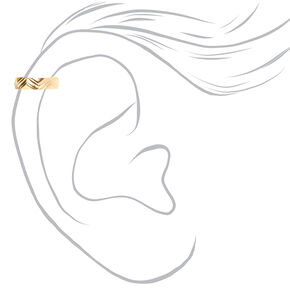 Gold Geometric Textured Ear Cuff,