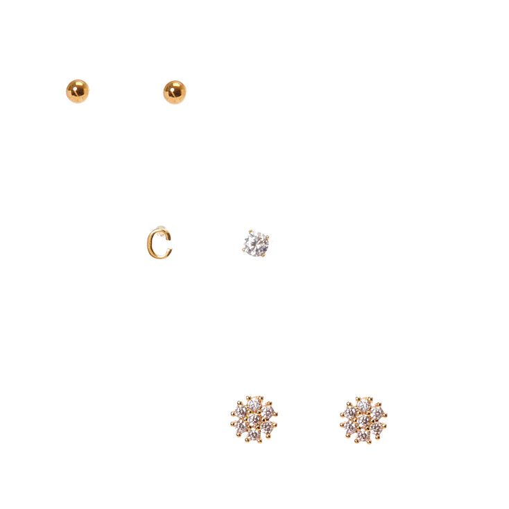 """18k Gold Plated """"C"""" Initial Stud Earring Set,"""