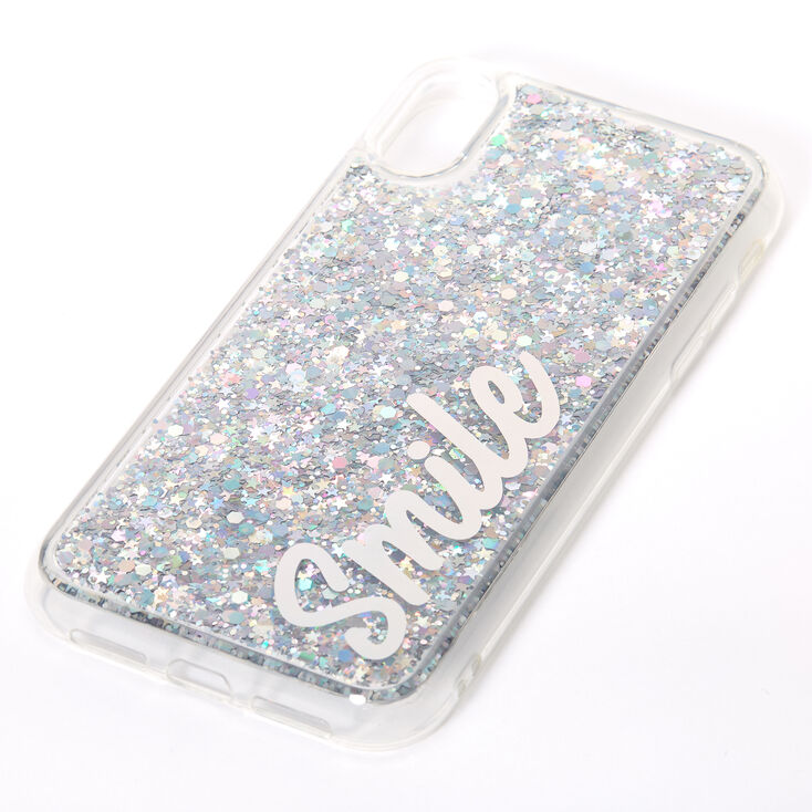 Smile Silver Glitter Liquid Fill Phone Case - Fits iPhone XR,