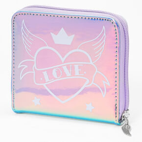Heart Wing Holographic Mini Zip Wallet - Purple,