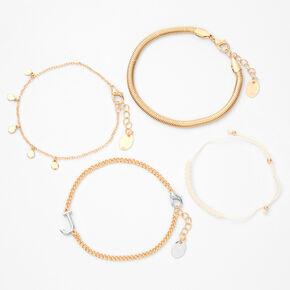 Gold Initial Beaded Chain Bracelets - 4 Pack, J,