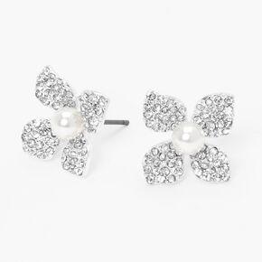 Silver Pearl & Crystal Flower Stud Earrings,
