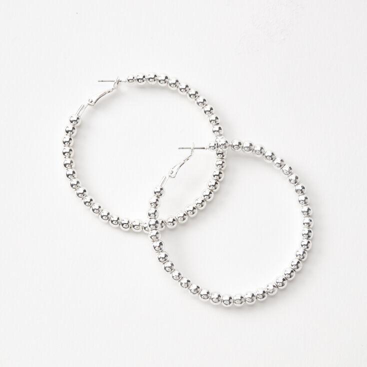 Silver 60MM Beaded Hoop Earrings,