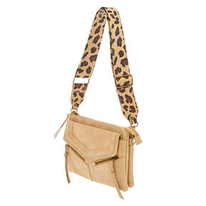 Nude Crossbody Envelope Bag with Animal Print Strap,