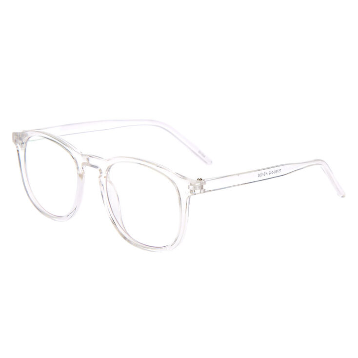 Blue Light Reducing Round Retro Clear Lens Frames - Clear,