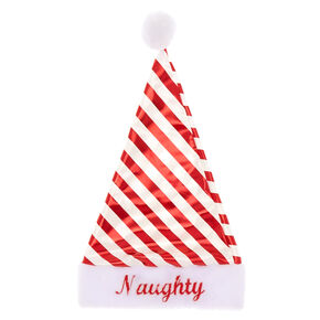 Naughty or Nice Striped Santa Hat,