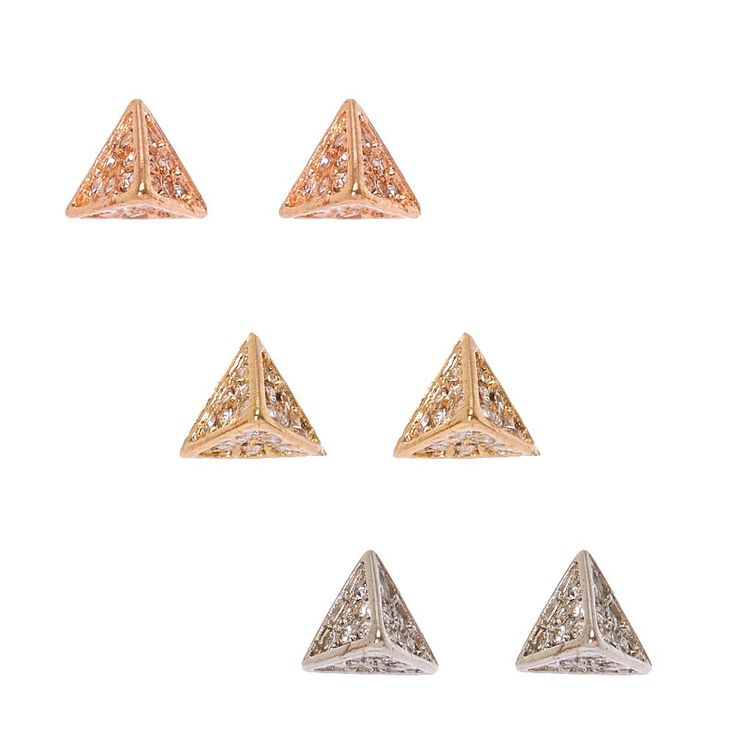 Mixed Metal Pyramid Stud Earrings,