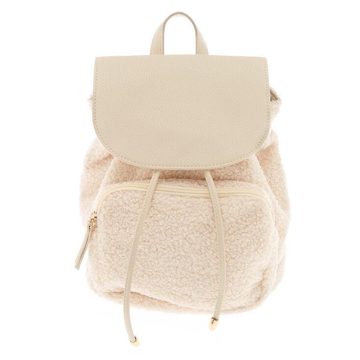 Sherpa Drawstring Small Backpack - Cream,