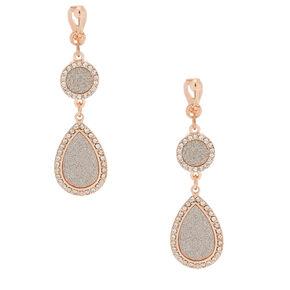 """Rose Gold 2"""" Glitter Drop Earrings,"""