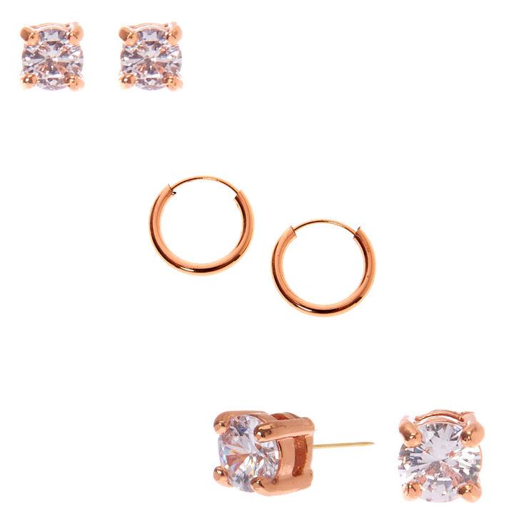18kt Rose Gold Plated Cubic Zirconia Stud & Hoop Earring Set - 3 Pack,