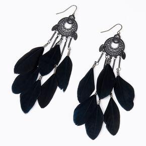 "Black 4.5"" Medallion Filigree Feather Drop Earrings,"
