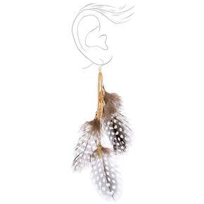 "Gold 5"" Polka Dot Feather Drop Earrings - Black,"