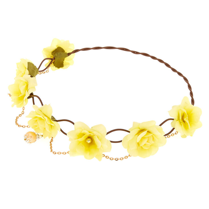 Yellow Flower Crown Gold Chain Headwrap,