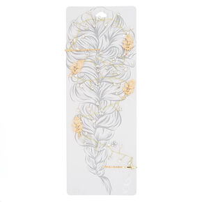 Long Gold-Tone Imitation Crystal Hair Vine,