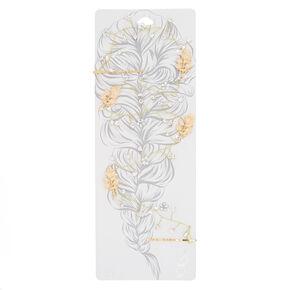 Long Gold-Tone Imitation Crystal Hair Vine,