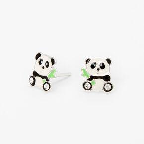 Sterling Silver Bamboo Panda Stud Earrings,