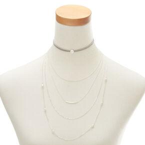 Gray Pearl Multi Strand Choker Necklace,