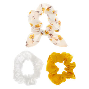 Country Eyelet Hair Scrunchies - Yellow, 3 Pack,