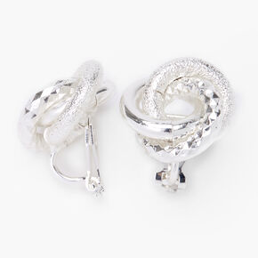 Silver Textured Knot Clip On Stud Earrings,