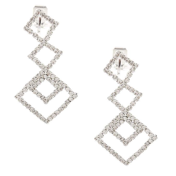 """Silver 2"""" Geometric Crystal Clip On Drop Earrings,"""