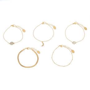 Gold Celestial Stone Chain Bracelets - 5 Pack,