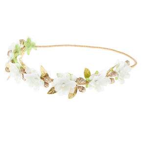 Gold Glitter Flower Crown Headwrap - Ivory,