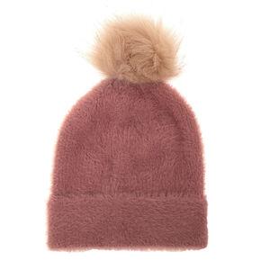 Fuzzy Pom Beanie - Pink,