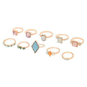 Pastel Bling Multi-Size Rings - 10 Pack,