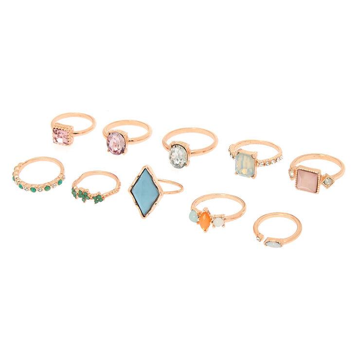 Pastel Bling Multi-Size Rings - 10 Pack,