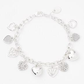 Silver Heart Charms Chain Link Bracelet,