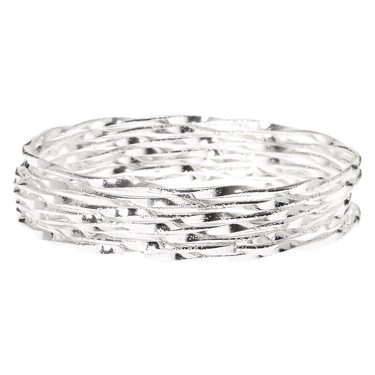 Silver Twisted Bangle Bracelets - 7 Pack,
