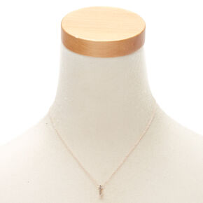 Rose Gold Cursive Initial Pendant Necklace - T,