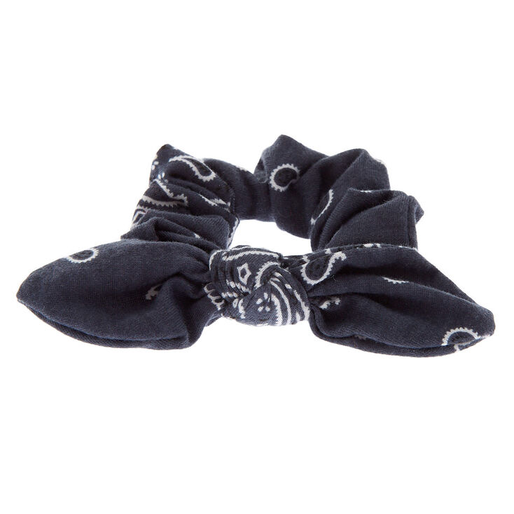 Small Bandana Knotted Bow Hair Scrunchie - Slate Gray,