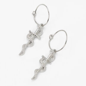 Silver 15MM Snake Dagger Hoop Earrings,