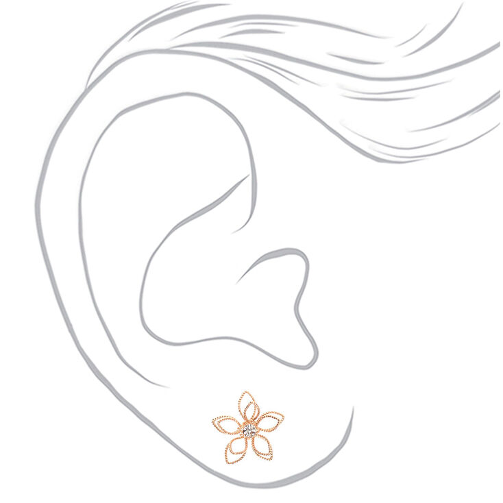 Rose Gold Wire Flower Jewelry Set - 2 Pack,