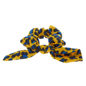 Bold Leopard Bow Hair Scrunchie - Mustard Yellow,