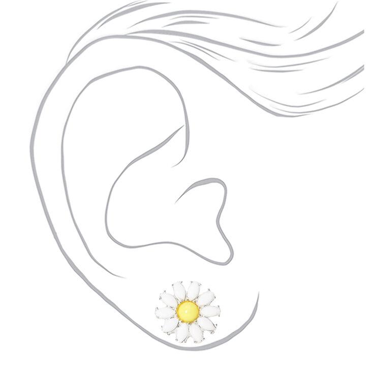 Silver Daisy Flower Stud Earrings - White,