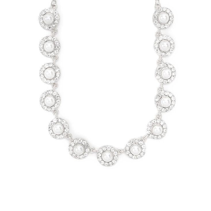 Pearl & Rhinestone Pavé Circles Statement Necklace,