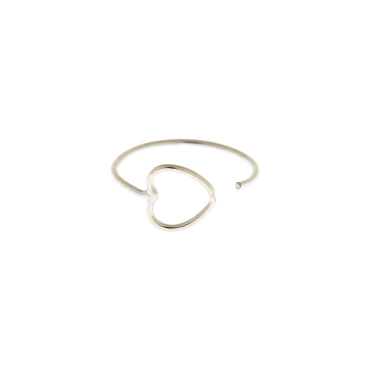Sterling Silver 22G Open Heart Nose Ring,