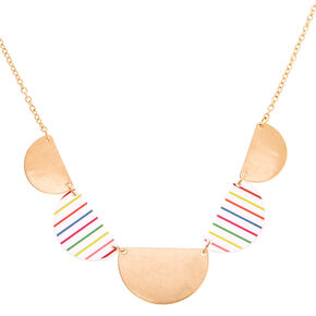 Gold Rainbow Striped Half Circle Statement Necklace,