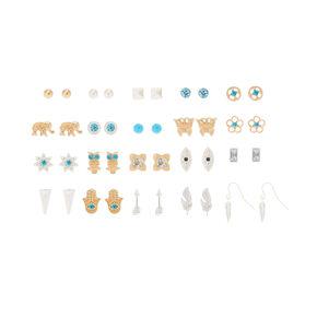 20 Pack Festival Stud Earrings,