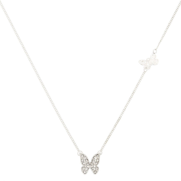 Silver Butterfly Pendant Necklace,
