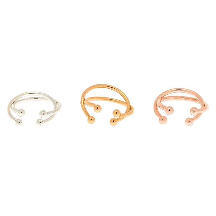 Mixed Metal Criss Cross Ear Cuff - 3 Pack,
