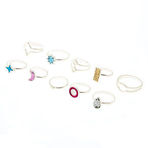 Silver Glitter Icon Multi-Size Rings - 10 Pack,