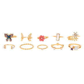 Gold Floral Ring Set - 10 Pack,